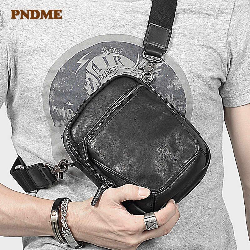 Простая повседневная мужская сумка-мессенджер из натуральной кожи, модная многофункциональная маленькая поясная сумка из натуральной воловьей кожи