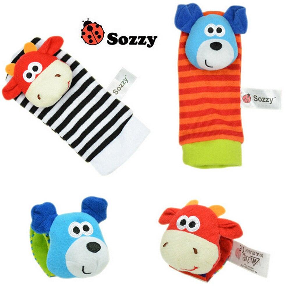 40pcs/lot Baby Rattle Toys Sozzy Garden Bug Wrist Rattle And Foot Socks 4 Style (2 Pcs Waist+2 Pcs Socks) (10 Set)