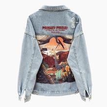 Spring Harajuku Denim Jacket Women Vintage Embroidery Print Jean Jacket