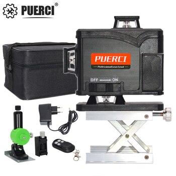 Лазерный уровень PUERCI 16 линейный 4D, супермощный самонивелирующийся лазерный уровень с перекрестными линиями зеленого цвета на 360 градусов, у