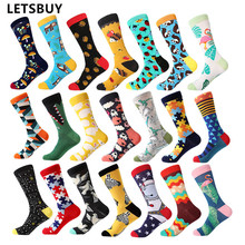 LETSBUY happy men dress socks cool funny colorful cotton socks classic optic fil