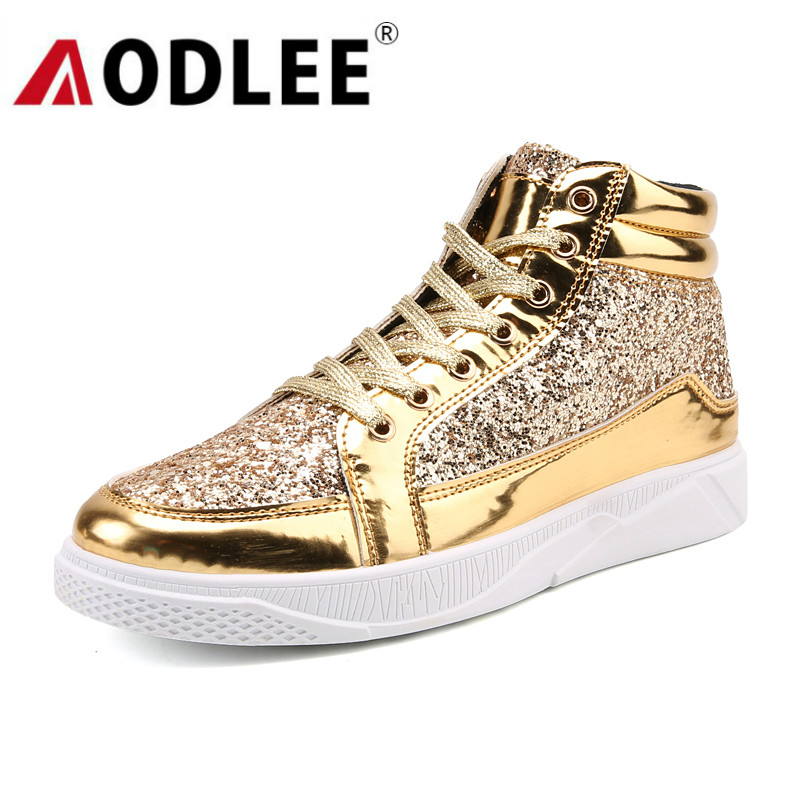 AODLEE Gold Shoes Men Sneakers Casual