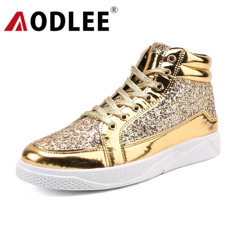 AODLEE Gold Shoes Men Sneakers Casual Shoes Breathable Fashion Hip Hop Shoes Men Sports High Top Shoes Casual Zapatos De Hombre
