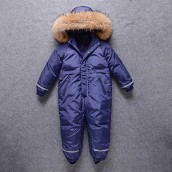 OLEKID 2020 Waterproof Real Fur Boys Winter Snowsuit Thick Girls Ski Suit 3-10 Years Kids Overalls Children Snow Wear Jumpsuit