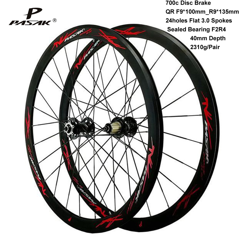 Pasak Road Bike 700C Wheelset Disc <font><b>6</b></font> Bolts V Brake QR F9X100 R9X135mm Aluminium <font><b>Wheels</b></font> 40mm Depth 24 Holes Flat 3.0 <font><b>Spokes</b></font> image
