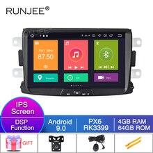RUNJEE 8 pulgadas PX6 Android 9 reproductor Multimedia de coche para Dacia Sandero pluster Renault capture Lada Xray 2 reproductor de radio de DVD GPS