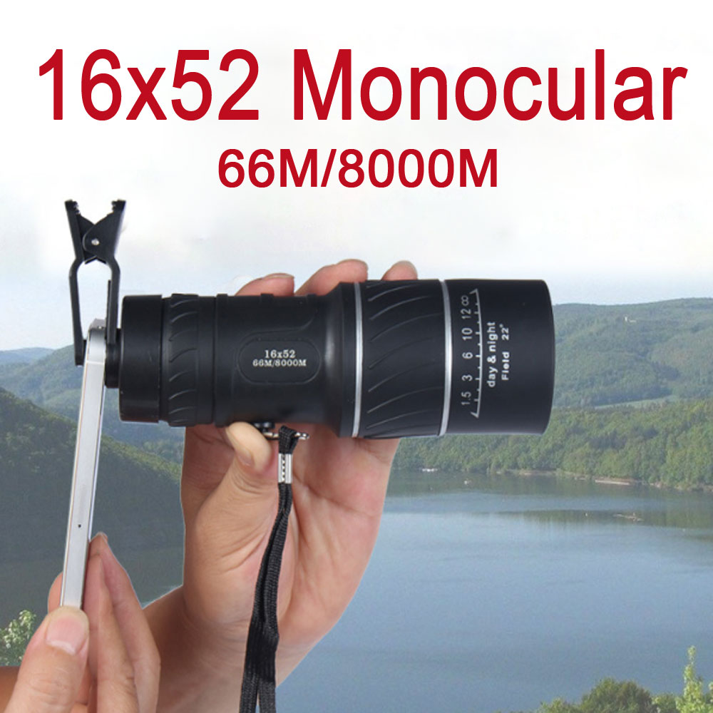 16x52, visão noturna, zoom óptico, espátula, caça, mira de identificação