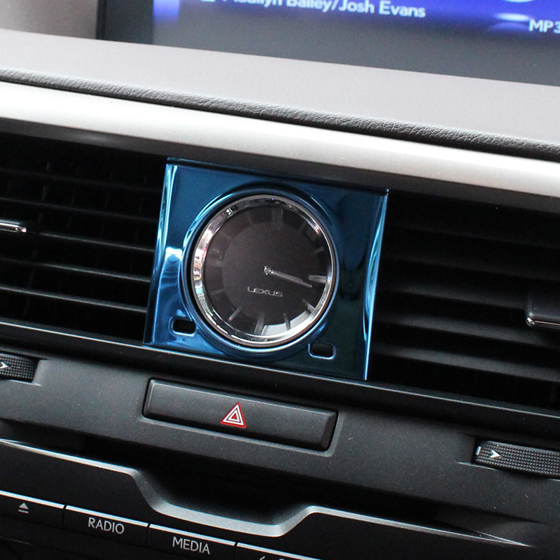 Middle Control Car Stone Clock Table Frame Trim Sticker Stainless Steel Styling Interior <font><b>Accessories</b></font> For <font><b>Lexus</b></font> <font><b>RX200t</b></font> 450h 2016 image
