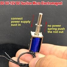 DC 5 V-12 V 6V Mini DC Solenoid elektromıknatıs itme çekme emme tipi mikro elektrikli mıknatıs ev aletleri bahar mıknatıs