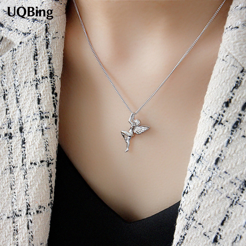 925 Sterling Silver Korean Design Cute And Lovely Guardian Angel Pendant Necklaces For Women 2020 Jewelry Gifts