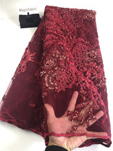 Best Quality African Lace Fabric Lace Beautiful Handmade Beads Embroidery French Mesh 2019 Nigeria Lace Fabric  H0139