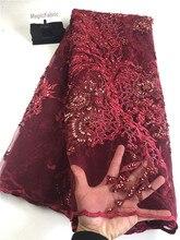 Najlepsza jakość afryki koronki tkaniny koronki piękne ręcznie hafty z koralików francuski siateczkowy 2019 nigeryjska tkanina koronkowa H0139