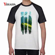 Mens Summer 3D Print T Shirts Forest Green Tree Graphic Tees White Cotton T-Shirt Simple Pattern Tee Unisex Casual Tops 3d print t shirts colorful forest tree graphic tees men women white cotton t shirt unisex casual tops summer shirts