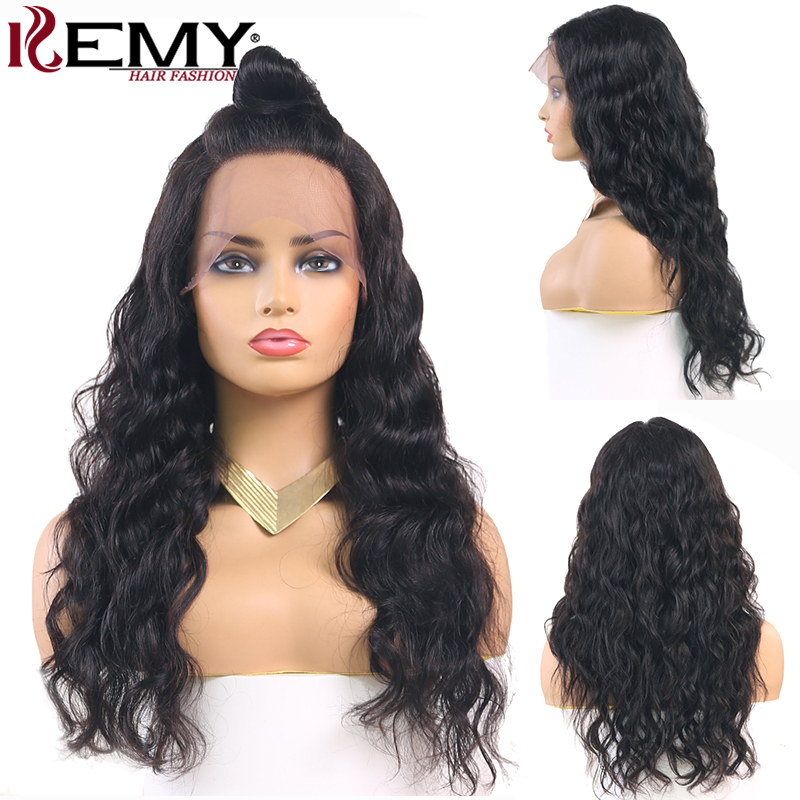 13x4 Lace Front Wig With Baby Hair For Black Women Brazilian Long Wave Lace Front Human Hair Wigs Preplucked Remy Hair Wig KEMY