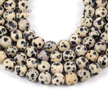 Natural Dalmation Jaspers Stone Round Loose Beads For Jewelry Making 4-12mm Spacer Fit Diy Bracelet Necklace Accessory 15""