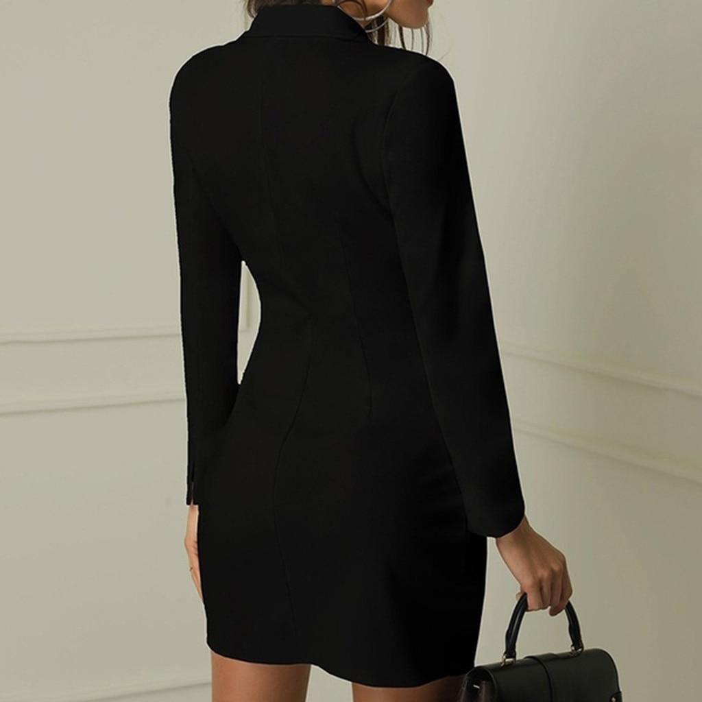 Sexy Black Formal Dress Office Lady Women Double Breasted Blazer Plus Size Slim Bodycon Work Wear