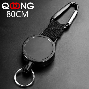 80CM Wire Rope Camping Telescopic Burglar Chain Key Holder Tactical Keychain Outdoor Key Ring Return Retractable Key Chain H24