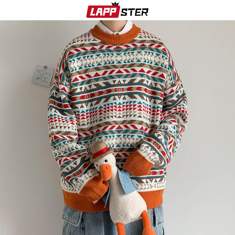 LAPPSTER Men Follower Winter Knitted Sweater 2020 Korean Fashion Harajuku Sweater O-Neck Autumn Casual Vintage Pullovers Coat