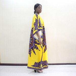 Image 3 - 2019 Nieuwste Arrivals Fashion Afrikaanse Dashiki Patroon Gedrukt O hals Batwing Mouwen Geel Puur Katoen Lange Jurken Voor Vrouwen