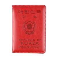 HEQUN-Funda de pasaporte de cuero de Corea para hombre y mujer, Cartera de viaje suave de Pu para pasaporte, tarjetero, color rosa