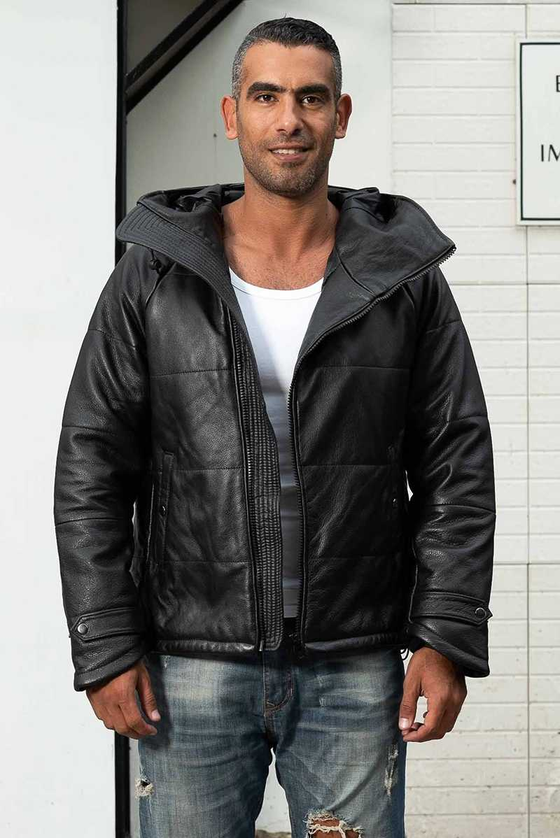 AVIREX FLY fashion winter down solid real genuine leather jacket men black cowskin Hooded thick coat casual clothing