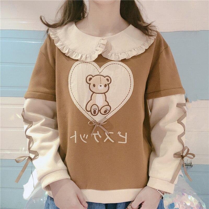Japanese Cute Bear Lolita Women Hoodie Winter Doll Collar Kawaii Cartoon Graphic Teen Girls Sweatshirt Warm Female Pullover