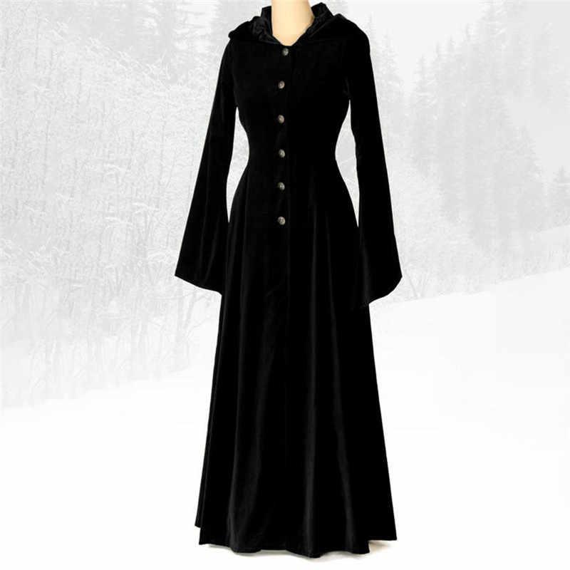 Vintage kostium średniowieczny Maxi sukienka gotycki jednolity kolor przycisk dekolt z kapturem Flare rękaw długie sukienki okrągłe w stylu retro suknia O3