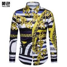 European and American Court Style Digital Printed Long Sleeve Shirt Mens Dress Shirts  Casual Turn-down Collar
