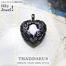 Wisiorek fioletowy skrzydlate serce, 2019 marka 925 Sterling Silver Glam biżuteria europa Bijoux naszyjnik akcesoria prezent dla duszy kobieta