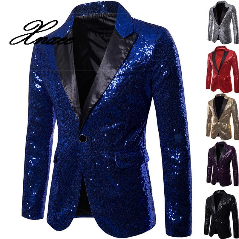 <font><b>Mens</b></font> <font><b>Sequins</b></font> Suit <font><b>Blazer</b></font> <font><b>Jacket</b></font> Shiny Glitter Embellished <font><b>Blazer</b></font> Male Slim DJ Club Stage <font><b>Blazer</b></font> Formal image