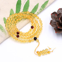 108 pieces amber yellow 4mm/6mm round 108 Prayer Beads Buddha Mala necklace bracelet FPPJ wholesale beads nature