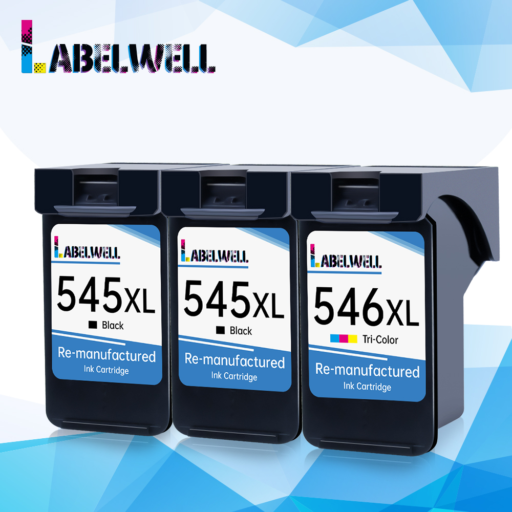 Labelwell 3Pcs PG545 CL546 Ink Cartridge Compatible for <font><b>Canon</b></font> PG 545 CL 546 Pixma IP2850 MX495 MG2450 MG2550 MG2950 NS28 Printer image