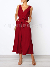 Spring and summer new style European and American explosions button loose jumpsuit Sexy V-neck halter jumpsuit цена и фото