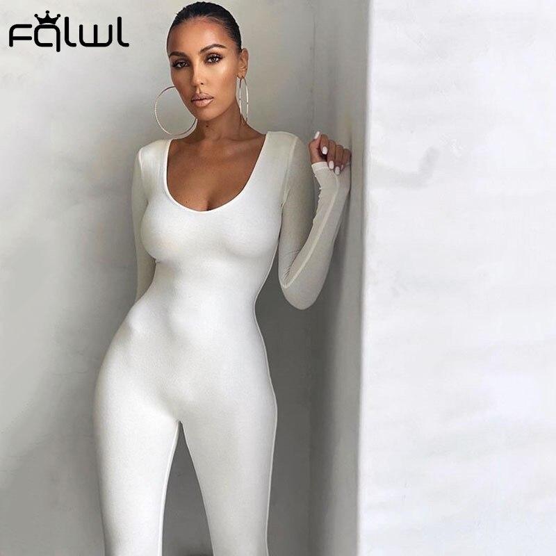 FQLWL güz kış uzun kollu seksi Rompers bayan tulum kadın tek parça kıyafetler kahverengi siyah beyaz Bodycon tulum kadınlar için