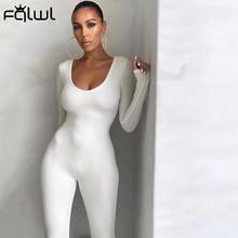FQLWL jesienno-zimowa z długim rękawem seksowne rampersy kombinezon damski kobiece ubranka jednoczęściowe brązowy czarny biały kombinezon typu Bodycon dla kobiet