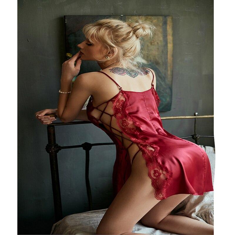 Nuisette Sexy Sleepwear Plus Size Night Wear Sexy Lingerie Split Lace Babydolls Female Nightgown Backless Koszula Nocna JF028