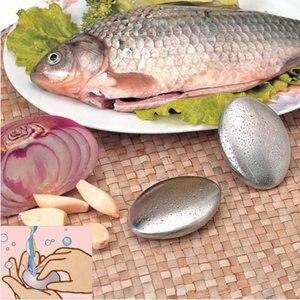 Casa vivendo gadget cozinha sabão de aço inoxidável forma oval desodorize cheiro de mãos varejo sabão mágico 1 peça