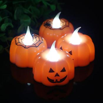 1/12Pcs Pumpkin Spider LED Night Light Jack-o'-lantern Halloween Candle Lamp Halloween Night Light Party Home Decor image