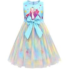 JoJo Siwa Girls Kid Ball Gown Princess Dress Bowknot Cute Rainbow Party Birthday Gift Cosplay Costume Clothes Hair bow