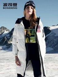 BOSIDENG nuovo oca giù donne giacca lunga con cappuccio parka impermeabile antivento rivestito in tessuto di alta qualità B80142152