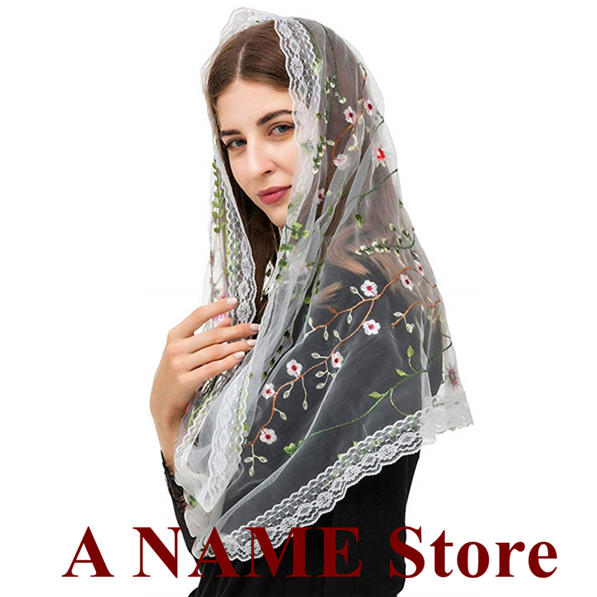 Round Women Mantilla Veil For Church Catholic Headwrap Covering Latin Mass Embroided Floral Lace Tradional Veil Velos Mantilla