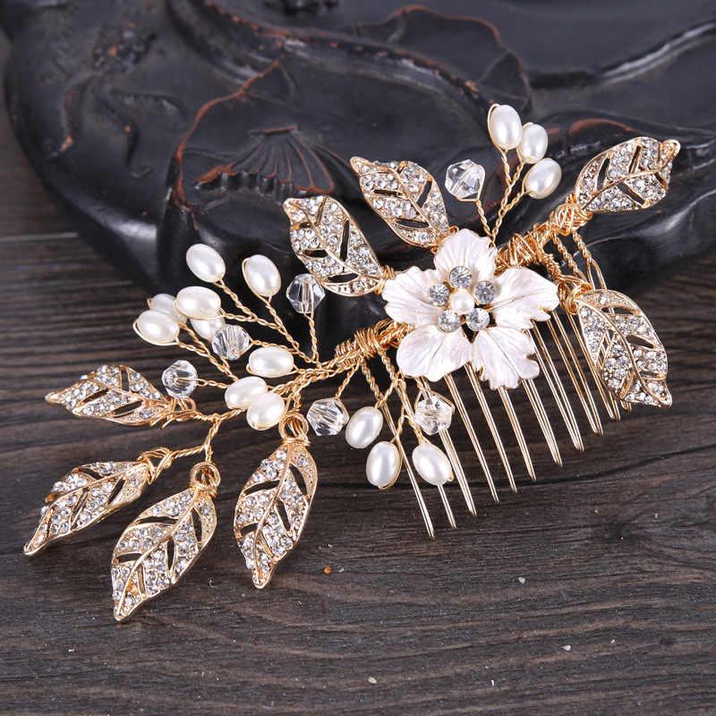 Peines de pelo de perla de cristal de Metal dorado, joyería, Tiaras de novia, accesorios para el cabello de boda VL