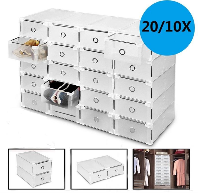 20PCS 10pcs Transparent Shoe Box Thickened Dustproof Shoe Storage Box Stackable Combination Shoe Cabinet Shoe Organizer Box
