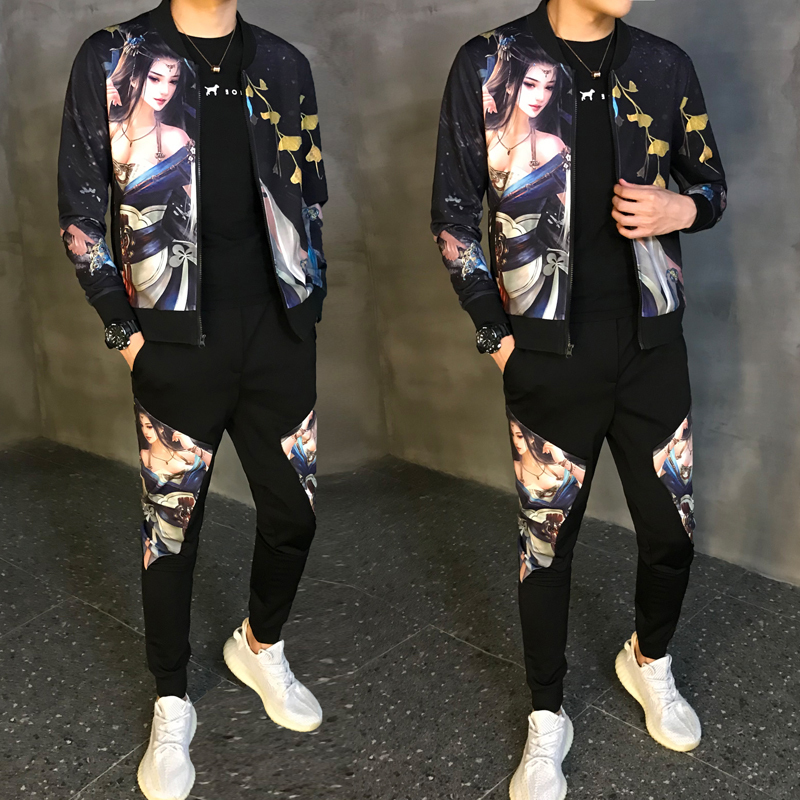 Men's Sportwear Sweatshirt Tracksuit Without Hoodie Men Casual Active Suit Zipper Outwear 2PC Jacket+Pants Sets Autumn 2020