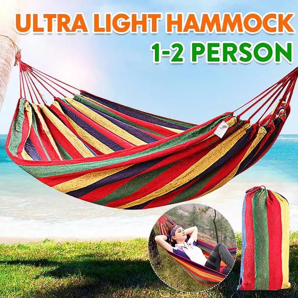 Ultralight Camping Hammock with backpack Hot Sale rainbow Outdoor Leisure Portable Hammock canvas Hammocks|Hammocks| - AliExpress