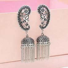 New Stylish personality design Vintage  Palace Color Zamak Hollow Indian Bells Tassel Earrings For Women Jewellry stylish faux turquoise carving leaf tassel necklace for women