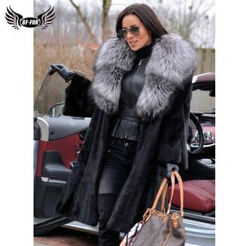 цена Women Fashion Real Mink Fur Coat Long With Big Silver Fox Fur Collar Winter Warm Mink Fur Coats For Women Outwear Natural Fur онлайн в 2017 году