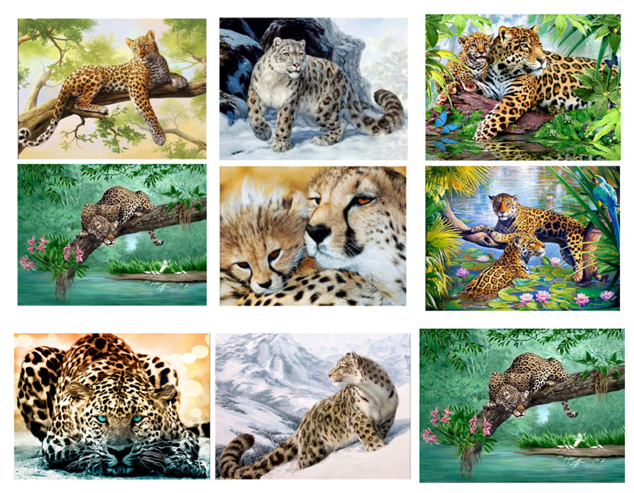Black Leopard Forest 5D Diamond Painting Embroidery Cross Stitch Kit Home Decor