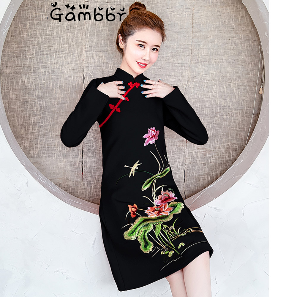 2019 Long Sleeve Autumn Winter Cheongsams Chinese Style Dress Elegant Slim Plus Size Qipao