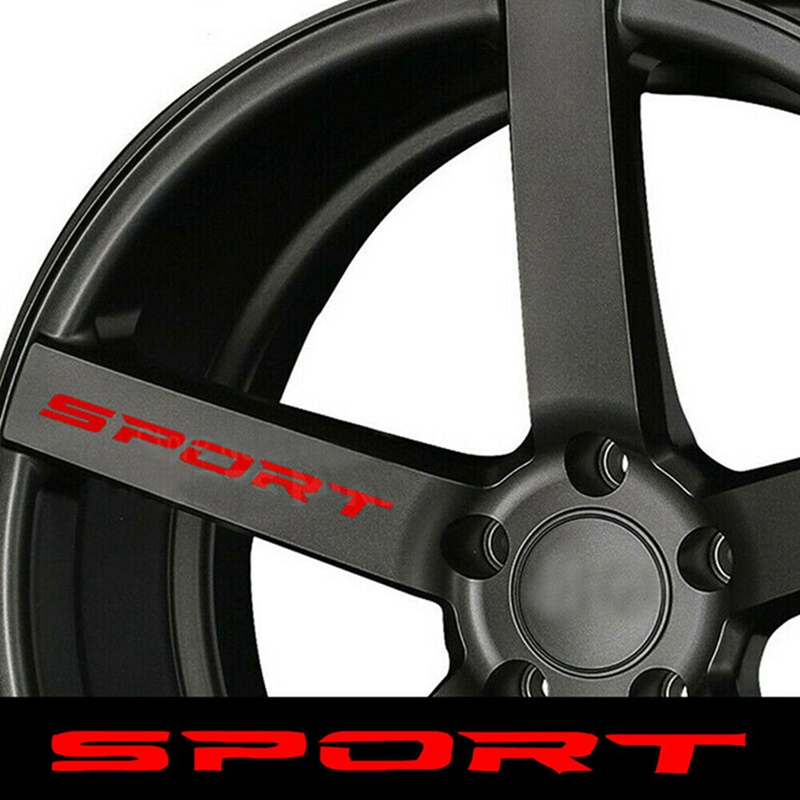 4pcs/Set SPORT Typeface Car Body Decal Sticker Car Door Rims Wheel Hub Racing Sticker Decal Exterior Accessories
